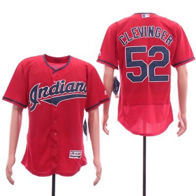 MLB Indians 52 Mike Clevinger Red Flexbase Men Jersey
