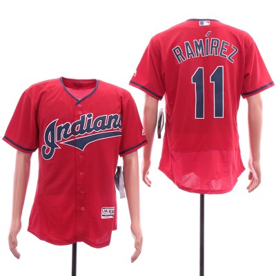MLB Indians 11 Jose Ramirez Red Flexbase Men Jersey