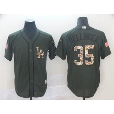 MLB Dodgers 35 Cody Bellinger Olive Salute to Service Men Jersey