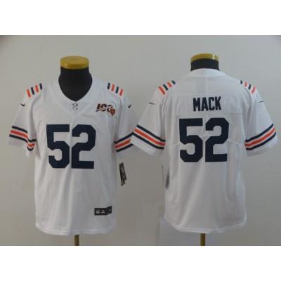 Nike Bears 52 Khalil Mack White Alternate 100th Vapor Untouchable Limited Youth Jersey