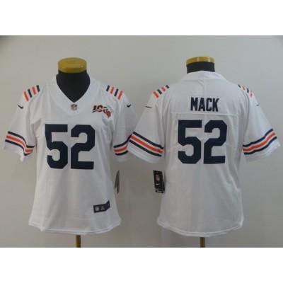 Nike Bears 52 Khalil Mack White Alternate 100th Vapor Untouchable Limited Women Jersey