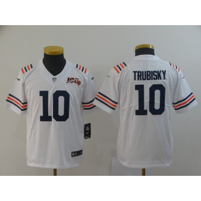 Nike Bears 10 Mitchell Trubisky White Alternate 100th Vapor Untouchable Limited Youth Jersey