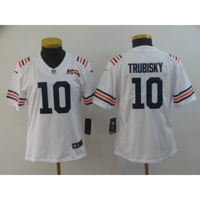 Nike Bears 10 Mitchell Trubisky White Alternate 100th Vapor Untouchable Limited Women Jersey