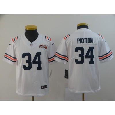 Nike Bears 34 Walter Payton White Alternate 100th Vapor Untouchable Limited Youth Jersey