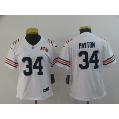 Nike Bears 34 Walter Payton White Alternate 100th Vapor Untouchable Limited Women Jersey
