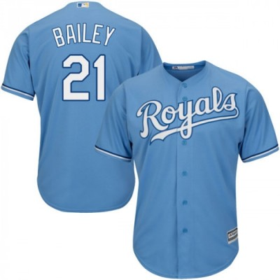 MLB Royals 21 Homer Bailey Light Blue Cool Base Men Jersey