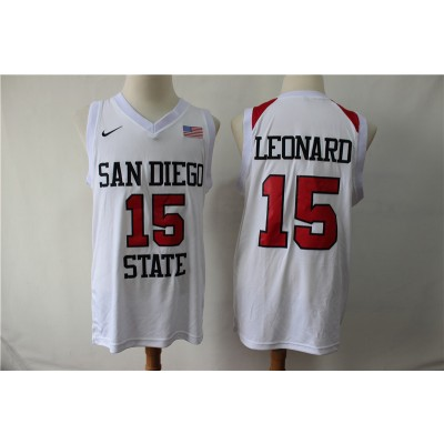 NCAA San Diego State 15 Kawhi Leonard White College Basketball Men Jersey