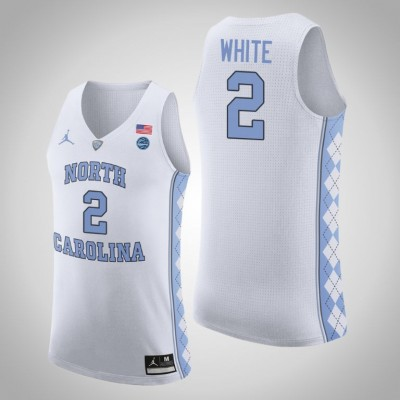NCAA North Carolina Tar Heels 2 Coby White White College Basketball Men Jersey