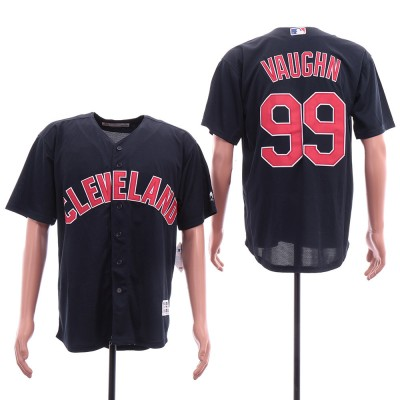 MLB Indians 99 Rick Vaughn Navy Blue Cool Base Men Jersey