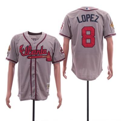 MLB Braves 8 Javy Lopez Grey Cool Base Men Jersey