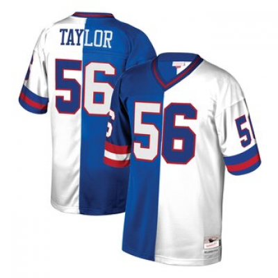 Mitchell and Ness NFL Giants 56 Lawrence Taylor White Split Throwback Jersey