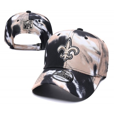 NFL Saints Team Logo Cream Black Peaked Adjustable Fashion Hat YD