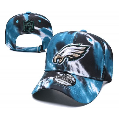 NFL Eagles Team Logo Blue Black Peaked Adjustable Fashion Hat YD
