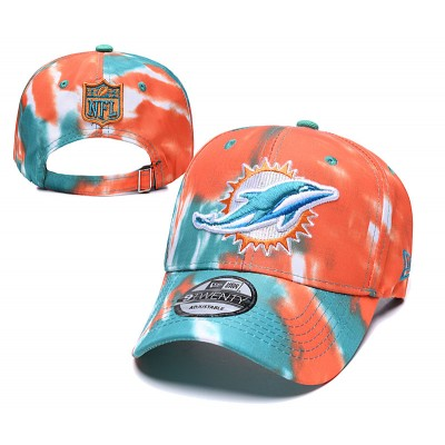 NFL Dolphins Team Logo Orange Peaked Adjustable Fashion Hat YD