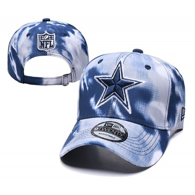 NFL Cowboys Team Logo Navy White Peaked Adjustable Fashion Hat YD