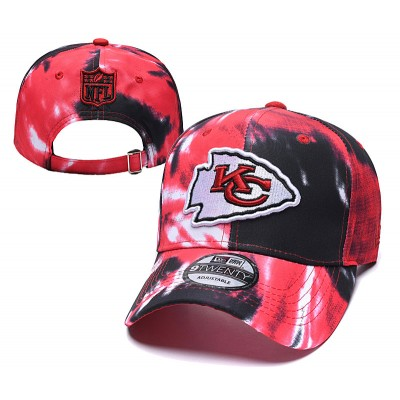 NFL Chiefs Team Logo Red Black Peaked Adjustable Fashion Hat YD