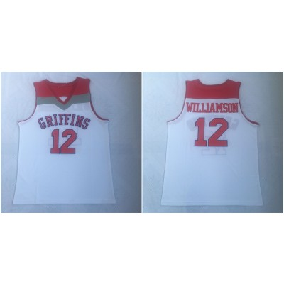 NCAA Spartanburg Griffins 12 Zion Williamson White High School Basketball Men Jersey