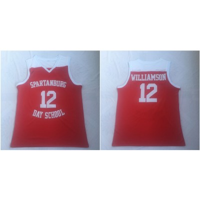NCAA Spartanburg Griffins 12 Zion Williamson Red High School Basketball Men Jersey