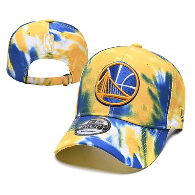 NBA Warriors Team Logo Yellow Blue Peaked Adjustable Fashion Hat YD