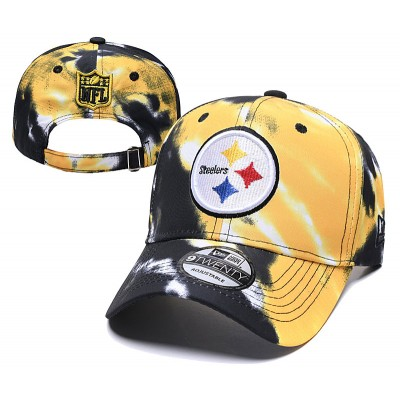 NFL Steelers Team Logo Yellow Black Peaked Adjustable Fashion Hat YD
