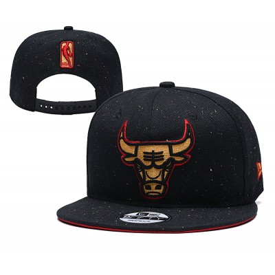 NBA Bulls Team Gold Logo Black Adjustable Hat YD