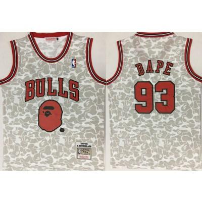 NBA Bulls 93 Bape Gray 1997-98 Hardwood Classics Men Jersey