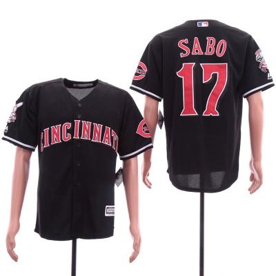 MLB Reds 17 Chris Sabo Black Cool Base Men Jersey