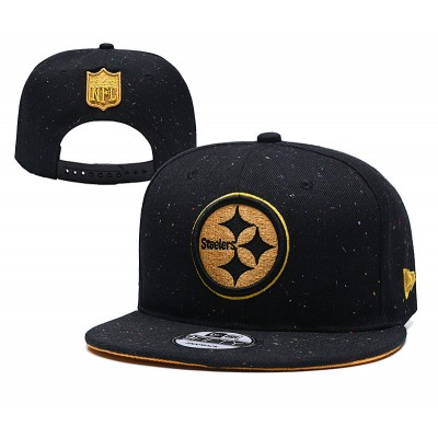 NFL Steelers Team Gold Logo Black Adjustable Hat YD