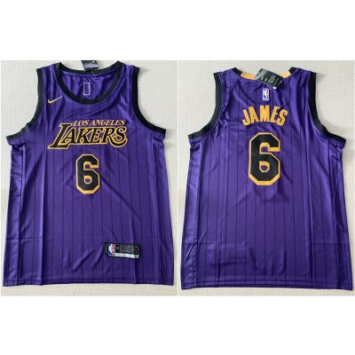 NBA Lakers 6 LeBron James Purple City Edition Nike Men Jersey