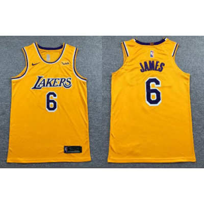 NBA Lakers 6 LeBron James Yellow Nike Men Jersey With Logo
