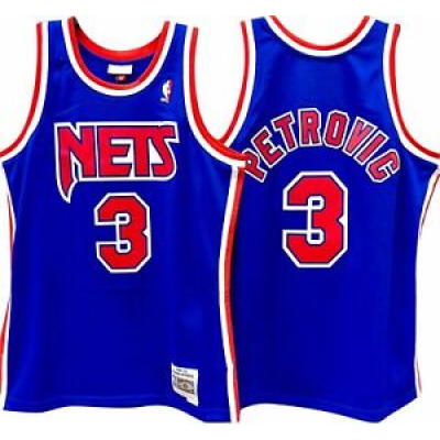 New Jersey Nets 3  Drazen Petrovic Blue Throwback Men Jersey