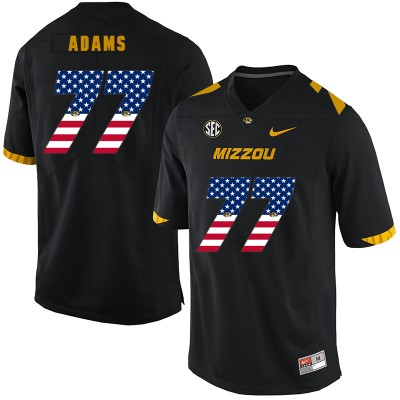 NCAA Missouri Tigers 77 Paul Adams Black USA Flag Nike College Football Men Jersey