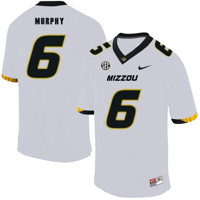 NCAA Missouri Tigers 6 Marcus Murphy III White Nike College Football Men Jersey
