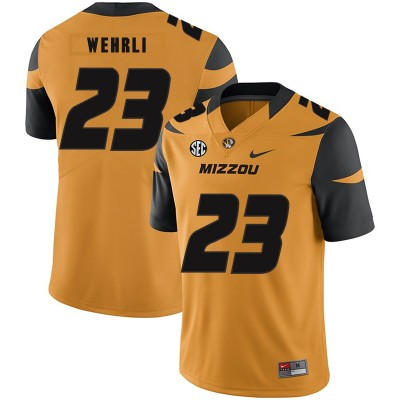 NCAA Missouri Tigers 23 Roger Wehrli Gold Nike College Football Men Jersey