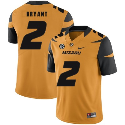 NCAA Missouri Tigers 2 Kelly Bryant Gold Nike College Football Men Jersey