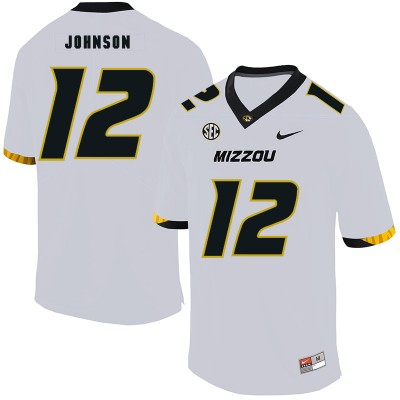 NCAA Missouri Tigers 12 Johnathon Johnson White Nike College Football Men Jersey