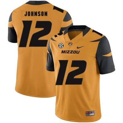NCAA Missouri Tigers 12 Johnathon Johnson Gold Nike College Football Men Jersey