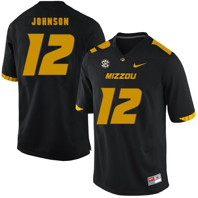 NCAA Missouri Tigers 12 Johnathon Johnson Black Nike College Football Men Jersey