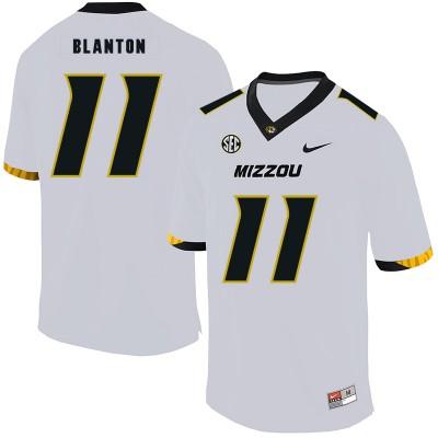 NCAA Missouri Tigers 11 Kendall Blanton White Nike College Football Men Jersey