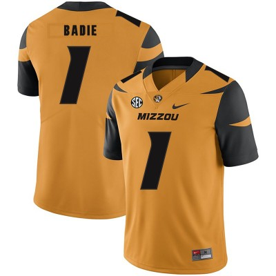 NCAA Missouri Tigers 1 Tyler Badie Gold Nike College Football Men Jersey