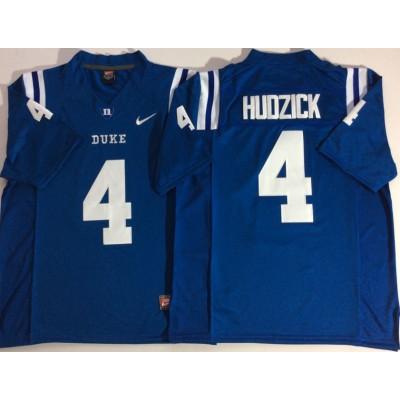 NCAA Duke Blue Devils 4 Myles Hudzick Blue College Football Men Jersey