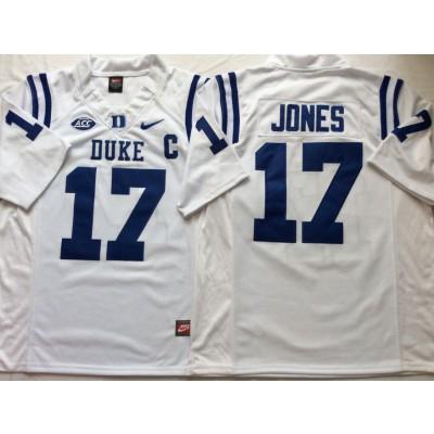 NCAA Duke Blue Devils 17 Daniel Jones White College Football Men Jersey