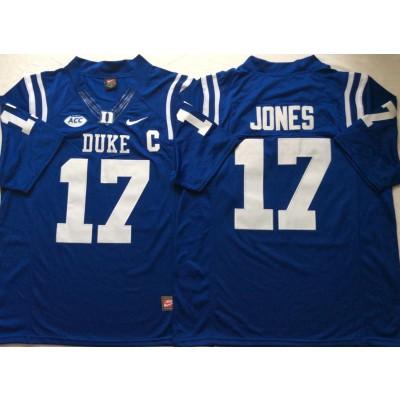 NCAA Duke Blue Devils 17 Daniel Jones Blue College Football Men Jersey