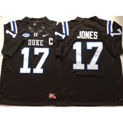 NCAA Duke Blue Devils 17 Daniel Jones Black College Football Men Jersey