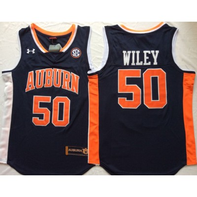 NCAA Auburn Tigers 50 Austin Wiley Navy College Basketball Men Jersey