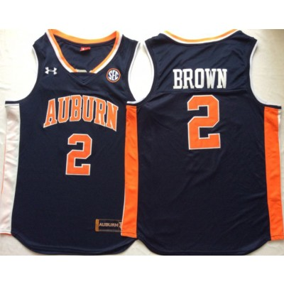 NCAA Auburn Tigers 2 Bryce Brown Navy College Basketball Men Jersey