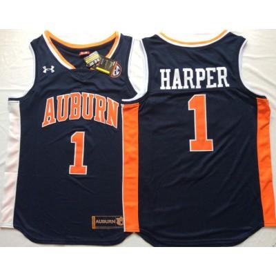 NCAA Auburn Tigers 1 Jared Harper Navy College Basketball Men Jersey
