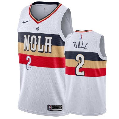 NBA Pelicans 2 Lonzo Ball White Earned Edition Nike Men Jersey