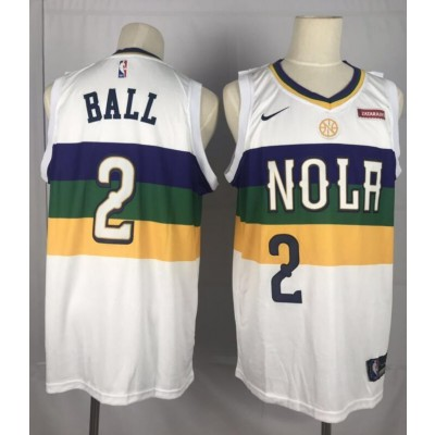 NBA Pelicans 2 Lonzo Ball White City Edition Nike Men Jersey