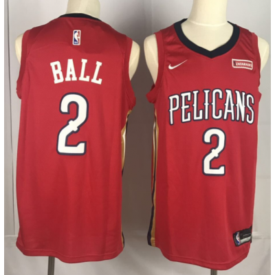 NBA Pelicans 2 Lonzo Ball Red Nike Men Jersey